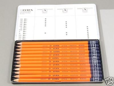 1  x Tin Graded Artist Sketching Drawing Pencils Art リラ Set of 12 Pencil NEW